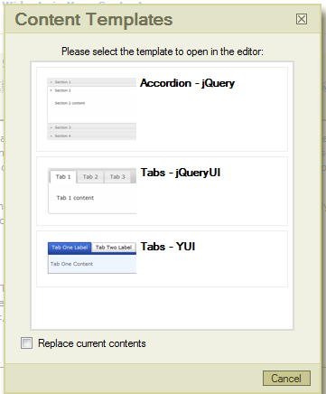 screen shot of fckeditor content template dialog window