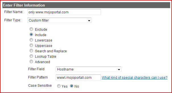 google analytics host name filter configuration screen shot