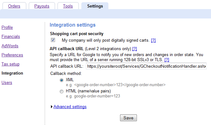 screen shot of the integration settings section in the merchant google checkout system