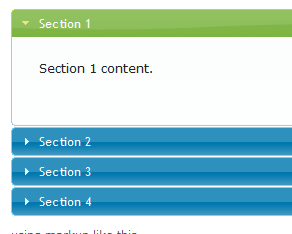 screen shot of jquery accordion