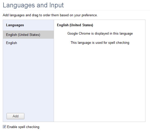 Chrome language settings