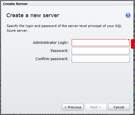 create sqlazure server 3 define admin credentials