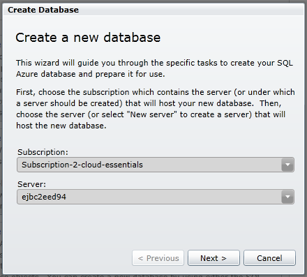 create sqlazure database step 1
