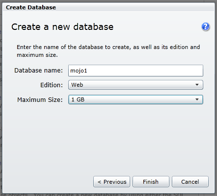 create sqlazure database step 2