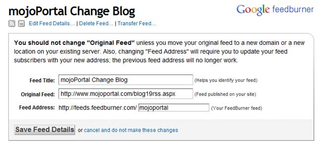 enter your blog feed in feedburner