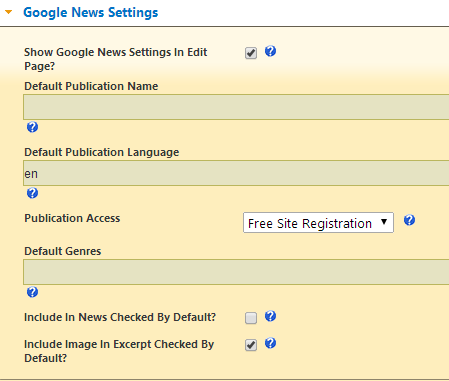 settings for google news map