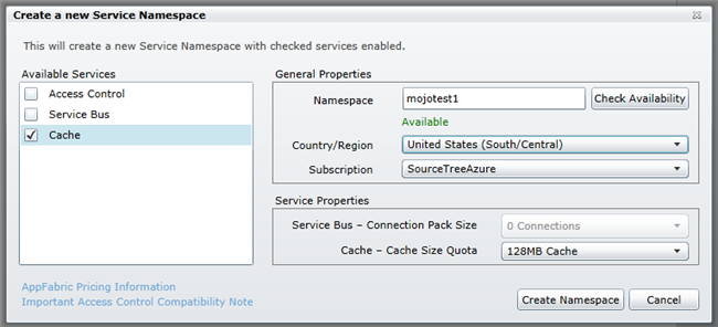 Create New Service Namespace dialog