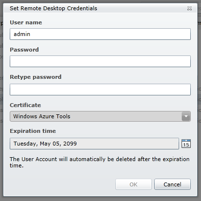 set credentials for remote access