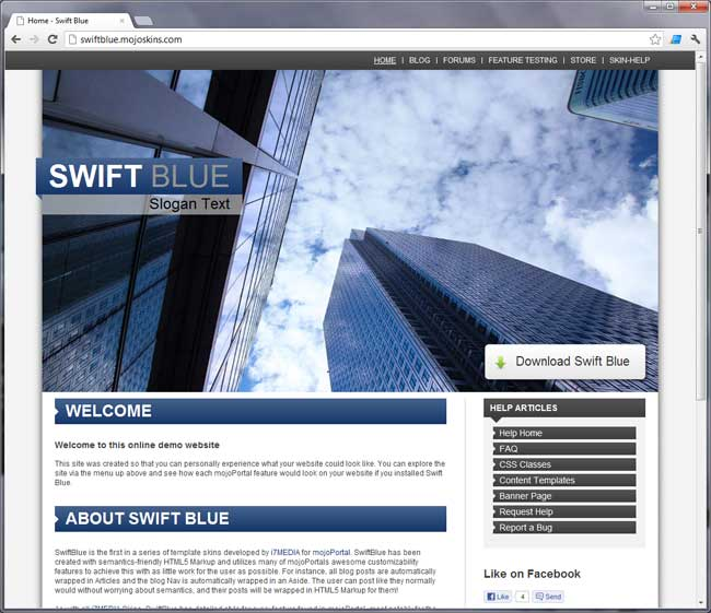 Swift Blue Skin for mojoPortal cms