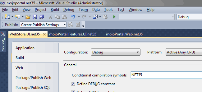 screen shot of conditional compilation symbols