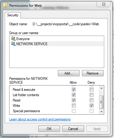 screen shot showing deny write permissions