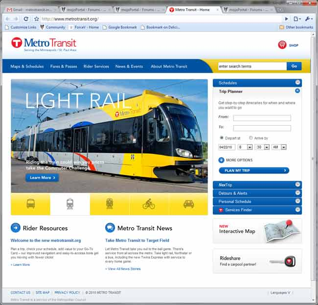 screen shot of www.metrotransit.org