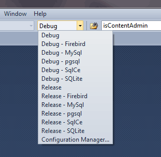 screen shot of build configuration dropdown list