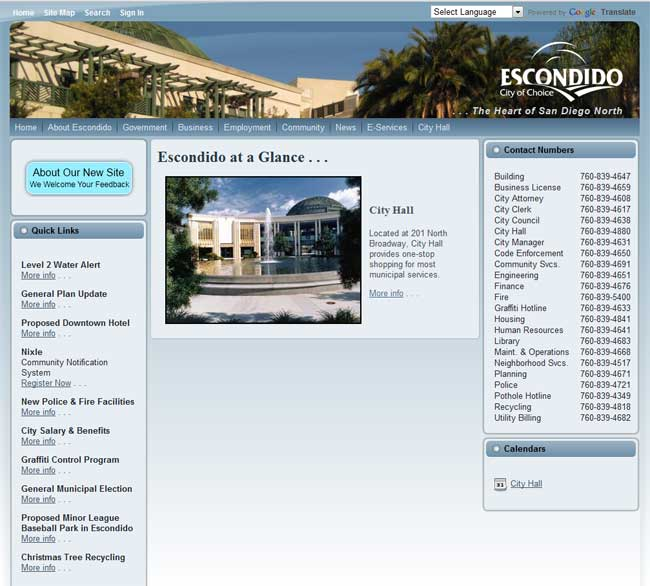 City of Escondido Web Site