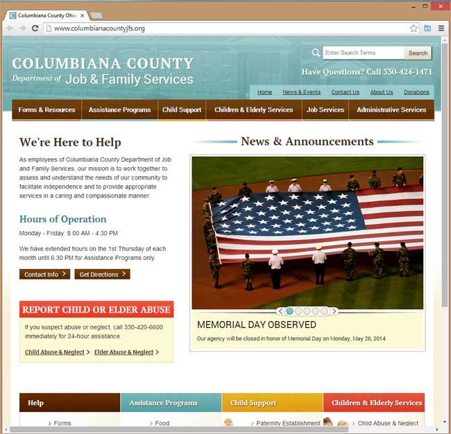Columbiana County Dept of Jobs and Family Services website