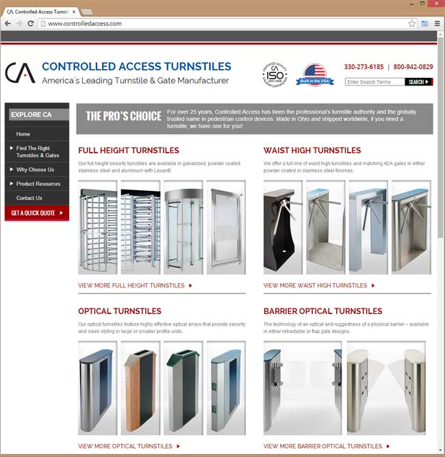 Controlled Access Turnstiles website