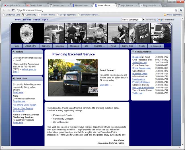 Escondido Police Department site screen shot