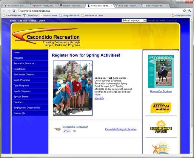 Escondido Recreation site screen shot