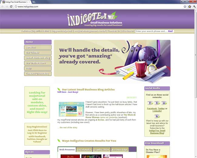 IndigoTea a site powered by mojoPortaal