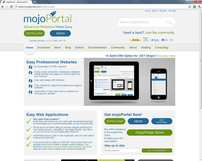 the mojoportal.com facelift of 2011