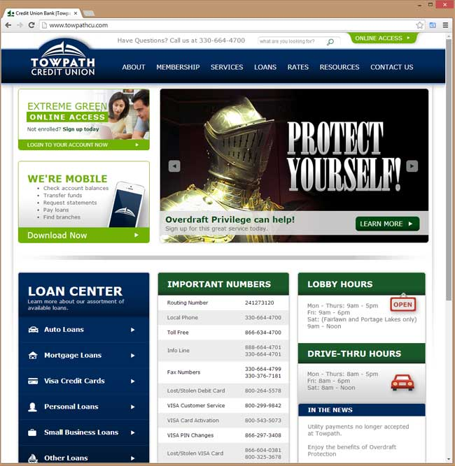 Towpath Credit Union website