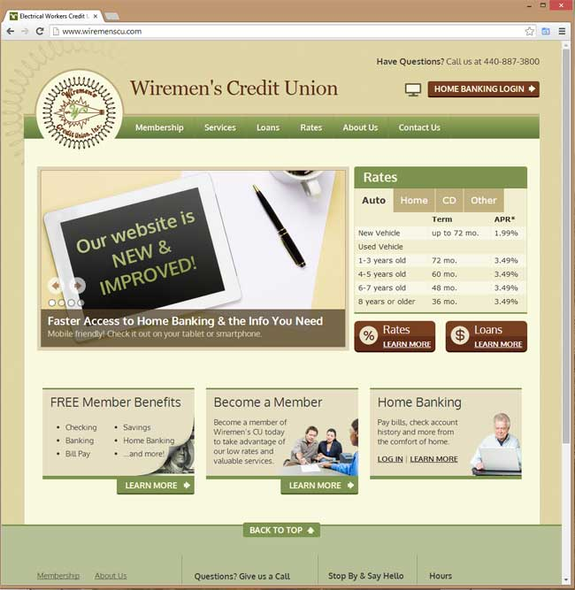 Wiremen's Credit Union website