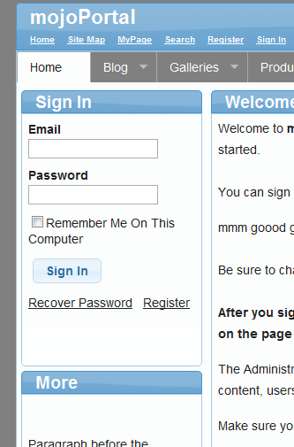 sign in module screen shot