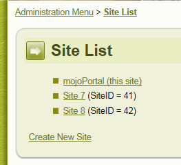 site list screen shot