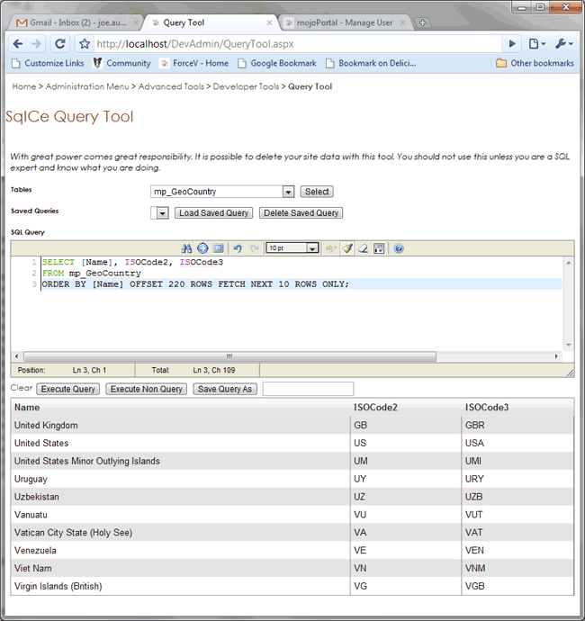 The mojoPortal Query Tool can talk to SQL CE