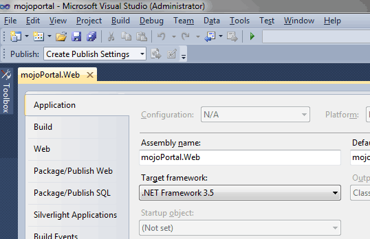 screen shot of target framework setting