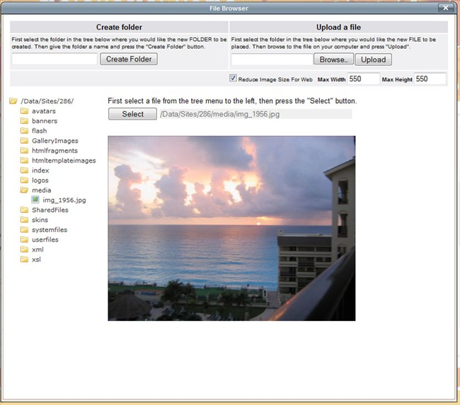 screen shot of our TinyMCE file browser