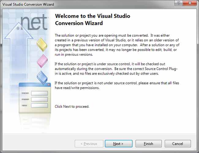 Visual Studio Project upgrade wizard screen shot