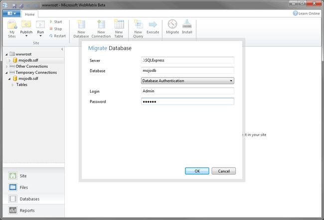 webmatrix migrate to sql server
