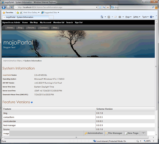 mojoportal running with SQL Server