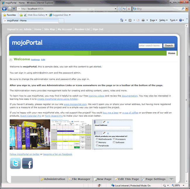 mojoportal homepage with default content