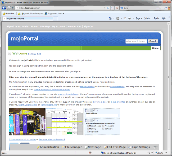 mojoportal home page with default content