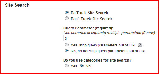 google analytics search configuration, add a q as the query parameter for search