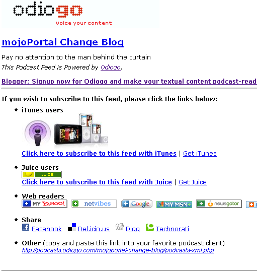 Odiogo Podcast Page Screen shot