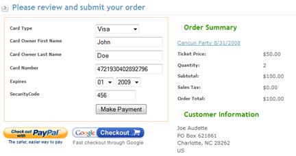 Ticket Purchase screen shot