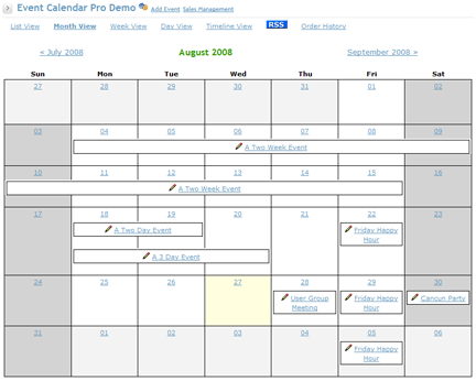 Event Calendar Pro screen shot showing events that span across days
