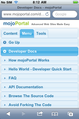 mojoportal.com showing the menu in Mobile Kit Pro