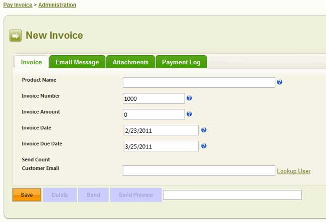 screen shot of first tab in the edit screen for an invoice