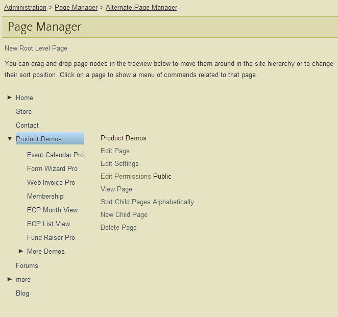 Page Manager Pro with new permissions link