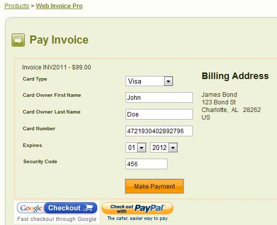 screen shot of the payment screen when using Authorize.NET