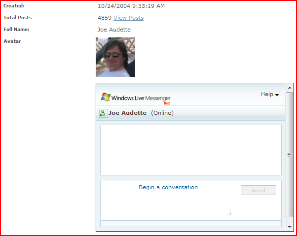 live messenger web control screenshot