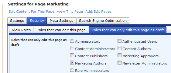 screen shot of draft edit roles in page settings