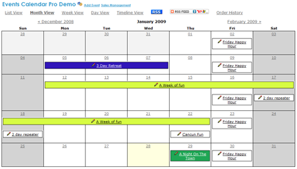 Thumbnail screen shot of event calendar pro