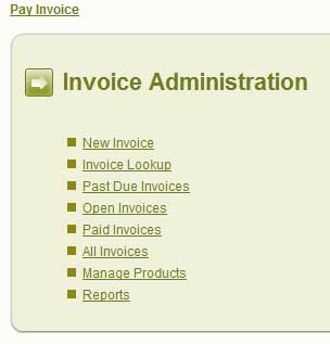 screen shot on Web Invoice Pro administration menu