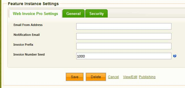 screen shot of settings for Web Invoice Pro